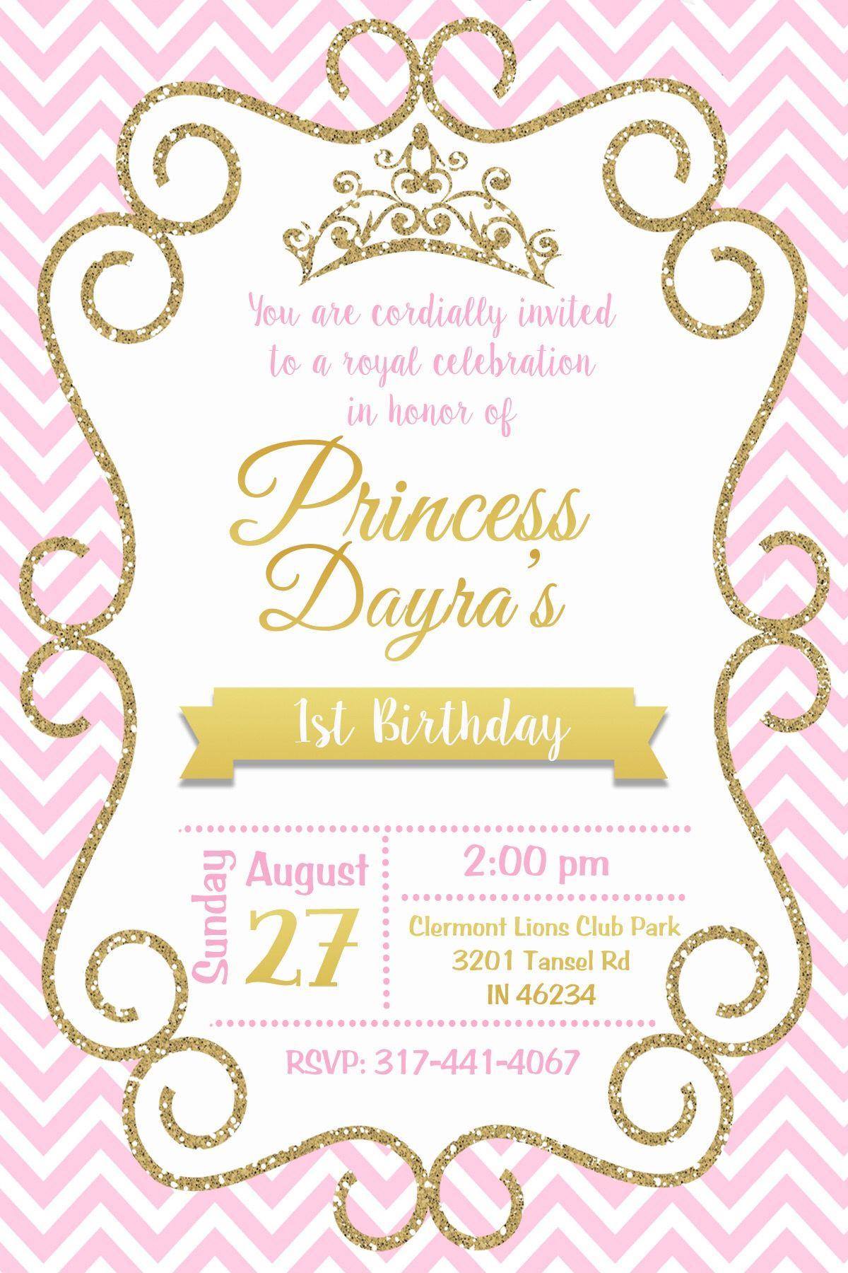 Princess 1 Birthday Baby Shower Invites For Girl Baby