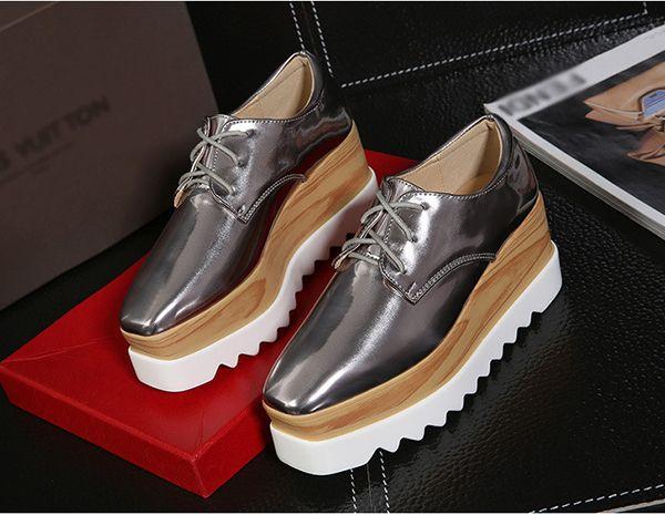 ac1c7eda00e5 New Women Shiny Lace Up Flats Double Platform Oxfords Fashion Comfortable  Shoes - US 21.83