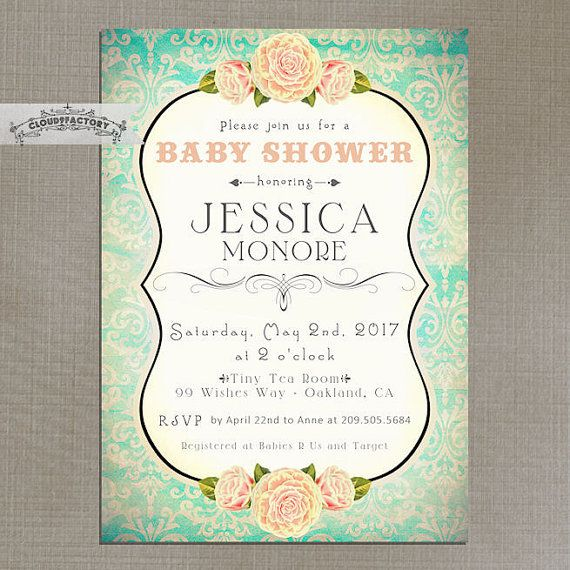 Peach and turquoise baby shower invitation light orange blue green peach and turquoise baby shower invitation light orange blue green damask fancy vintage garden tea party printable digital file no639 filmwisefo Images