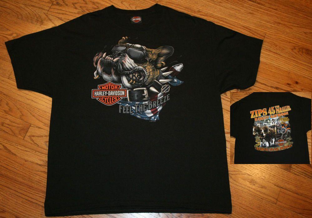 Harley Davidson Motorcycles Zips 45th Parallel T-Shirt XL ...