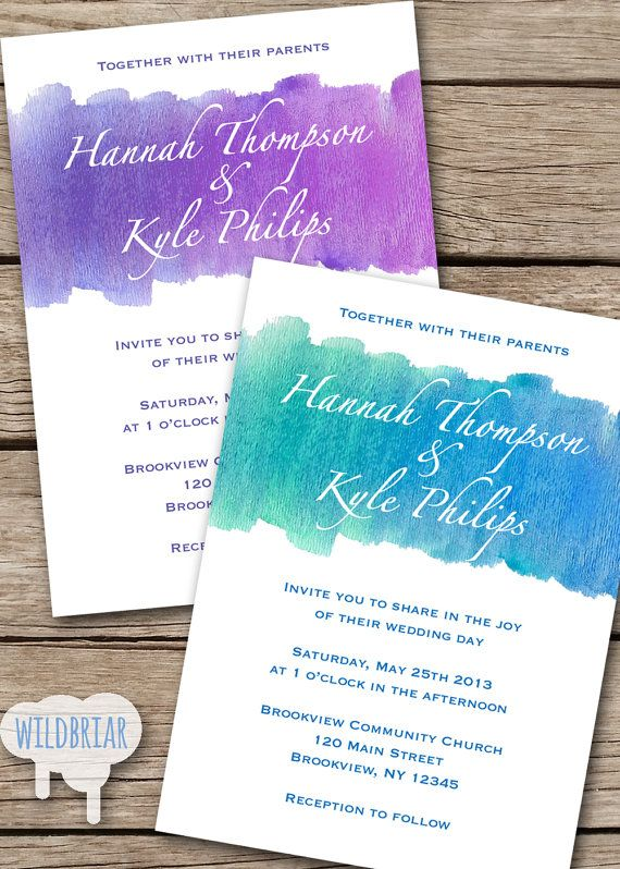 Watercolor Printable Wedding Invitation, Turquoise Blue green pink ...