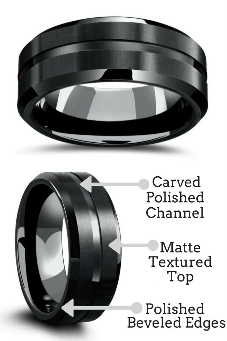 Mens black tungsten wedding ring with a carved center channel matte