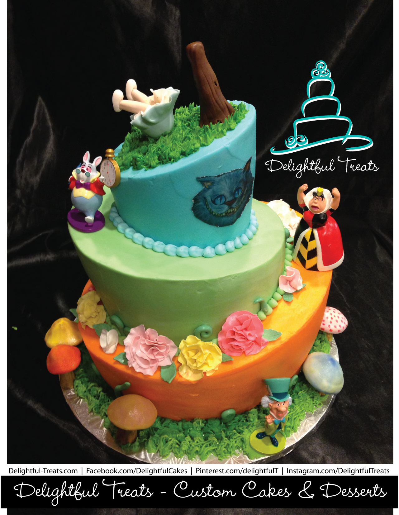 Three Tier Butter Cream Topsy Turvy Alice in Wonderland Cake by