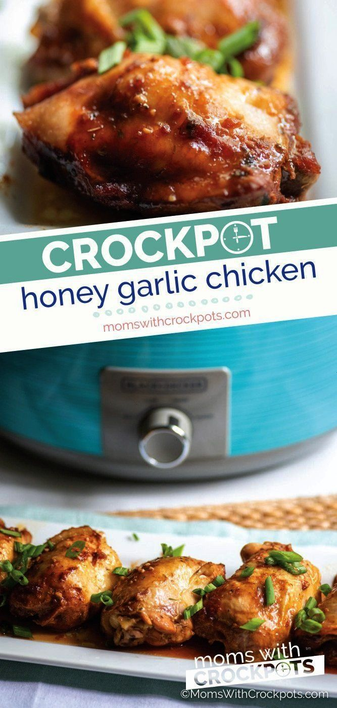 Pot Honey Garlic Chicken 5 minutes of prep and only a few ingredients in this Crock Pot Honey Garli