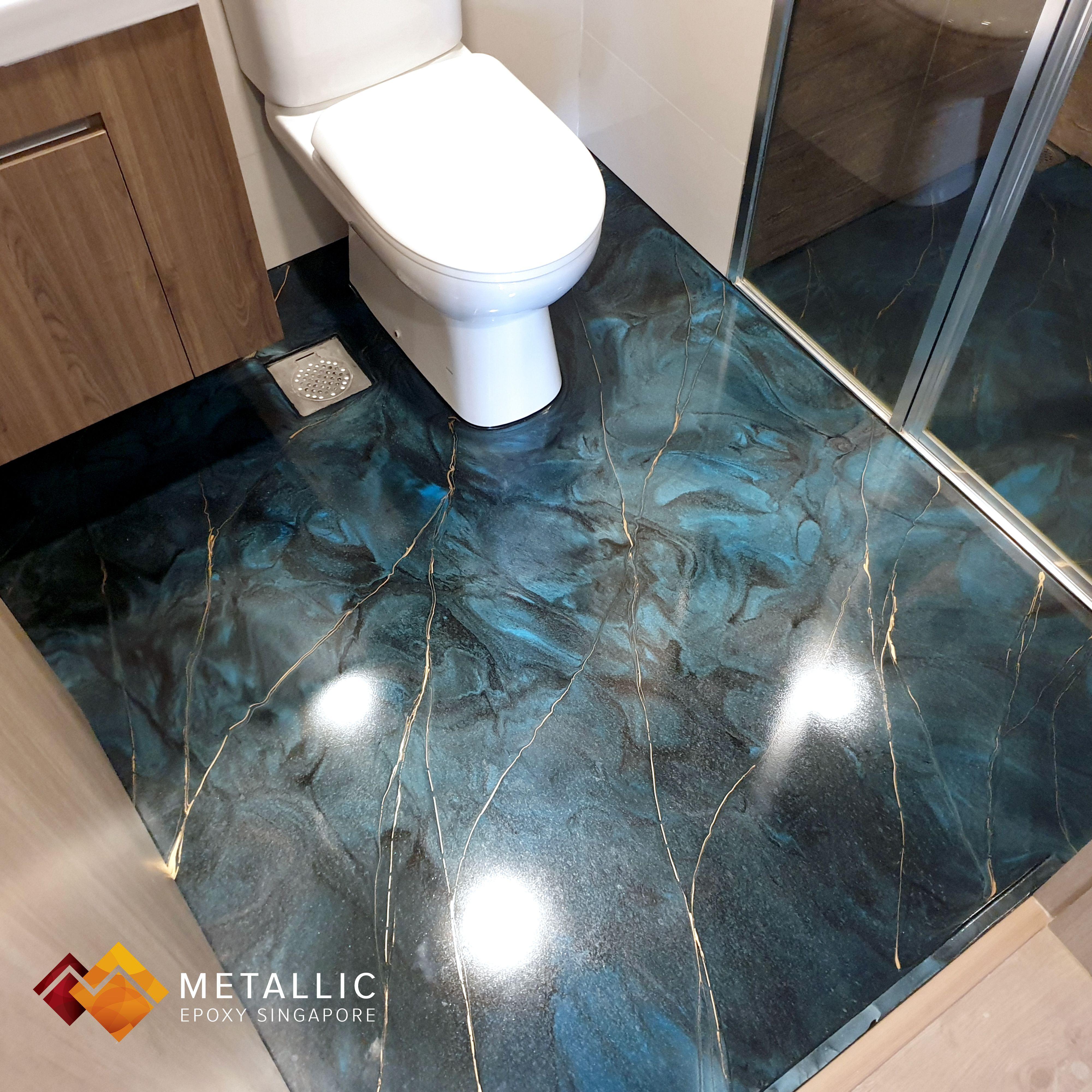 Metallic Epoxy Singapore Blue Galaxy With Gold Veins Bathroom Floor Bathroom Flooring Flooring Epoxy Floor