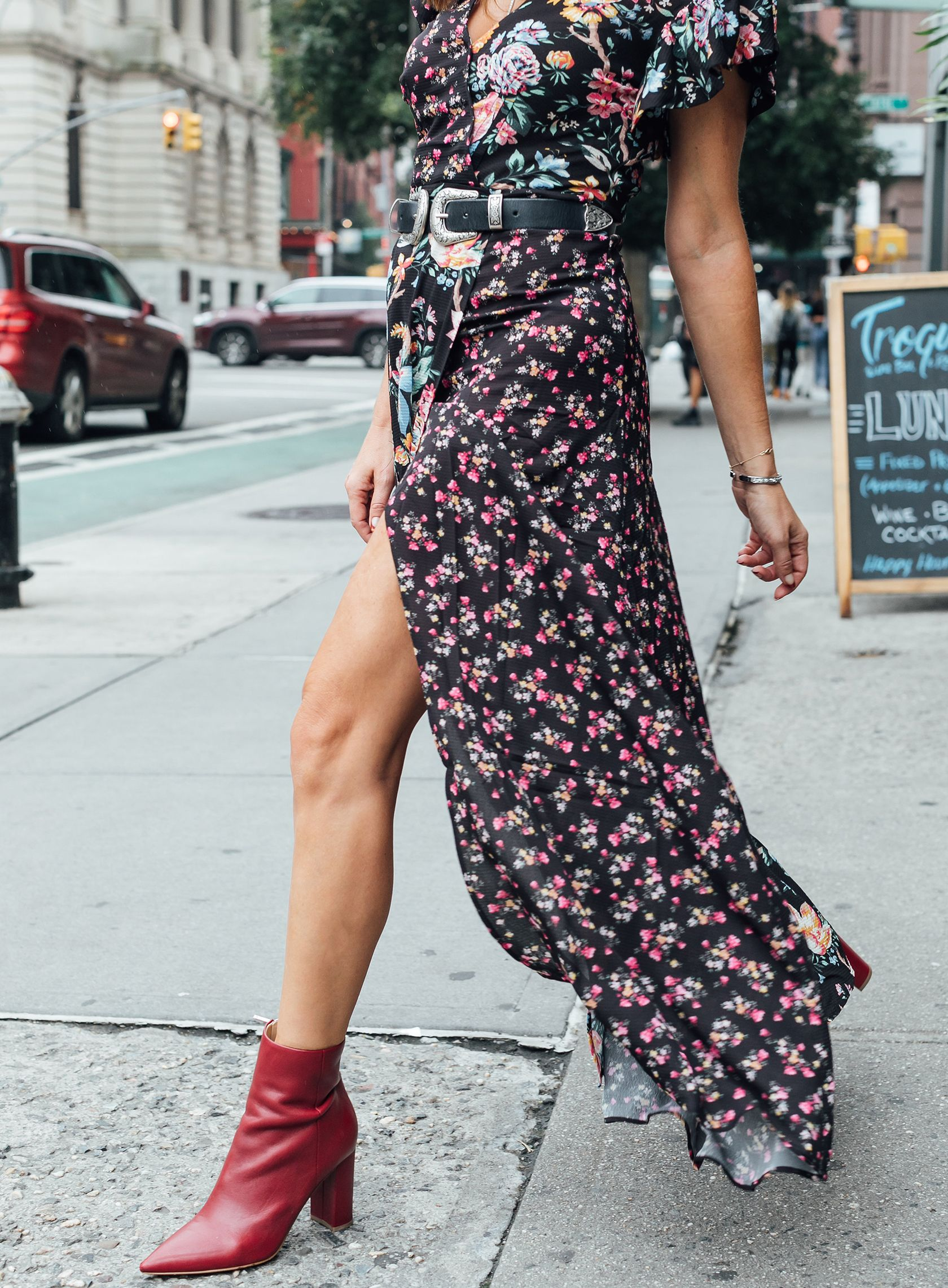 c6965875fd7 Sydne Style wears marc fisher ulani bootie for fall shoe trends  florals   western  booties  sydnesummer