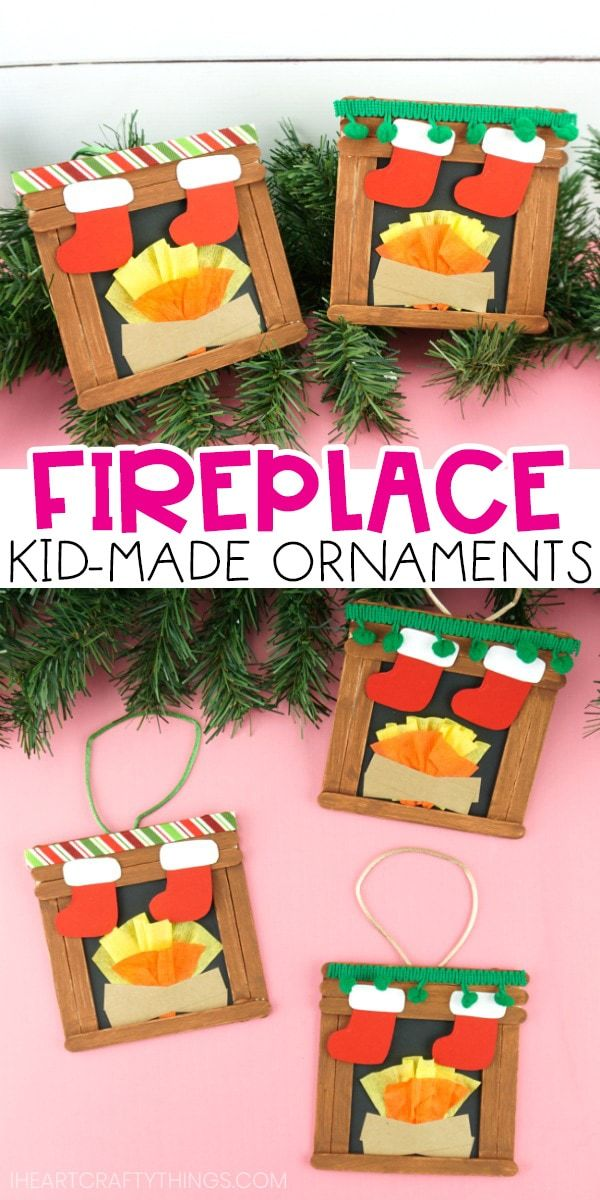 This craft stick fireplace craft is super easy and festive for kids to create for a Christmas craft. Add a hanging cord on the back to easily turn it into a homemade kid-made ornament. Grab our free printable template today! #iheartcraftythings