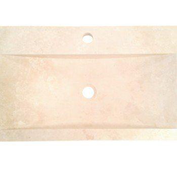 Vasque à poser travertin l.70 x P.40 cm beige / naturel Edith ...