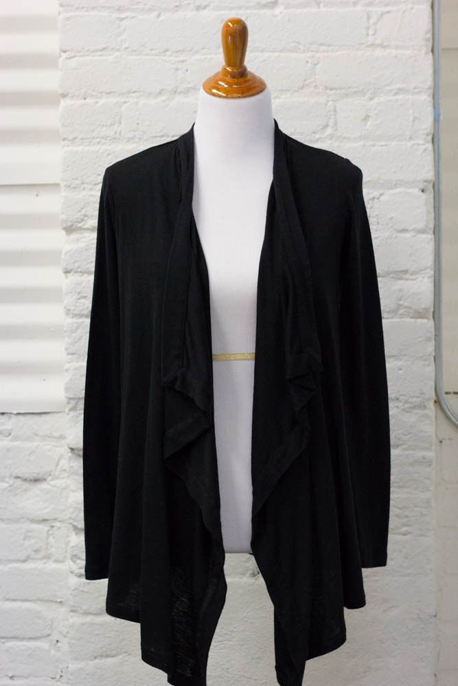 Witchery Waterfall Cardigan Merino Wool Black Sweater Asymmetrical ...