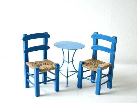 Tiny Furniture Greek Blue Bistro Set, Miniature Prop Furniture, Two Wooden  Chairs, Round