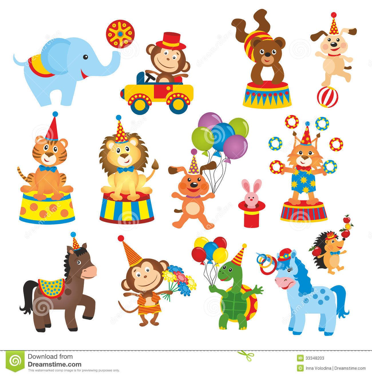 Set Of Animals In Circus Animal Clipart Monkey Baby Shower Decorations Circus Animals