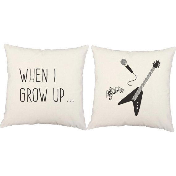 Set Of 2 Kid 39 S Rockstar Pillows Rock And Roll Pillow Covers And Or Cushion Inserts When I Grow Up Children 3 Pillows Boys Throw Pillows Throw Pillows