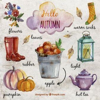 Handgemalte herbstlichen Elementen,  #Elementen #Handgemalte #herbstlichen #ThanksgivingDesig... #helloautumn