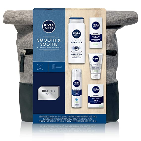 Amazon Com Nivea Men Dapper Duffel Gift Set 5 Piece Collection Of On The Go Grooming Needs With Travel In 2020 Sensitive Body Wash Post Shave Balm Skin Care Gifts