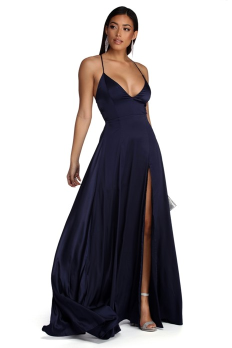 dfd1cc79f8b8 Plus Vera Satin Lace Up Formal Dress in 2019 | Products | Formal ...