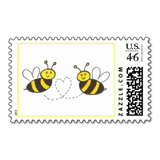 Honey Bees with Heart Postage Stamps