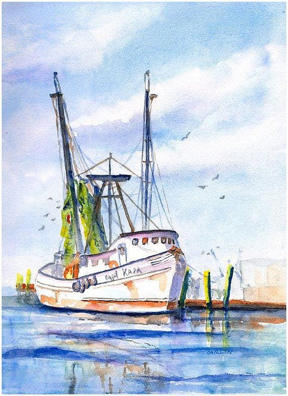Fishing Boat Painting Original Watercolor Hand Painted 9x12
