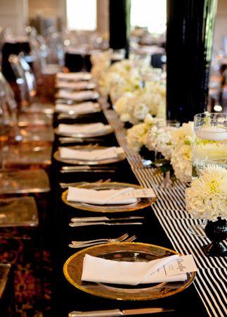 Tablescapes White Gold Black Wedding Decor