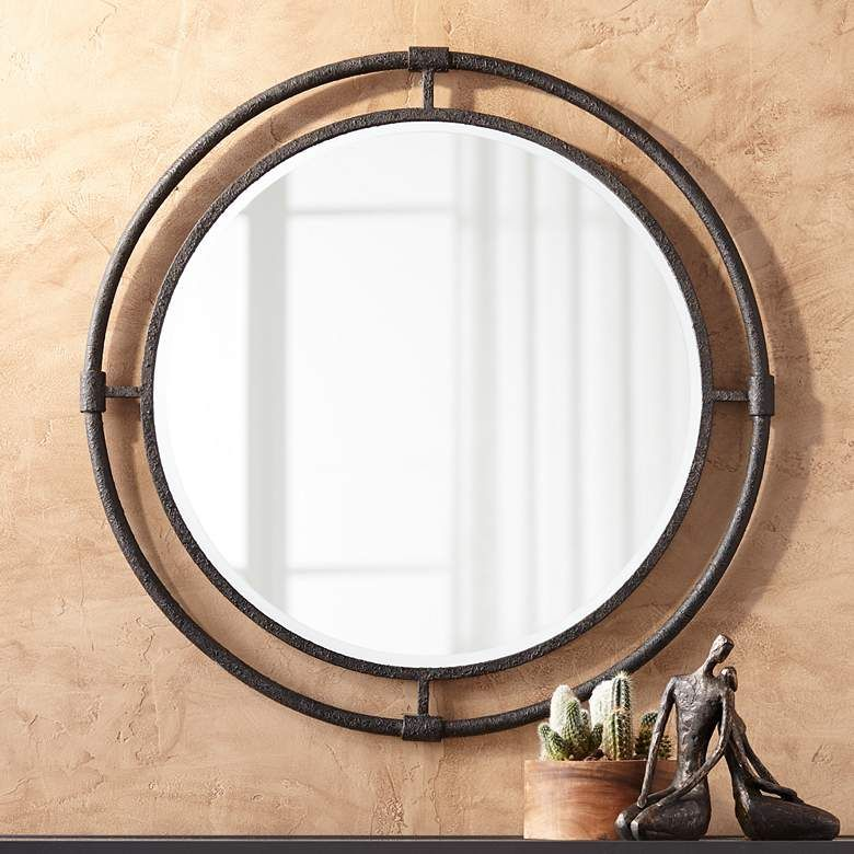 Uttermost Ammi 32 1 2 Round Rough Black Iron Wall Mirror 72k42 Lamps Plus In 2020 Mirror Wall Industrial Wall Mirrors Iron Wall