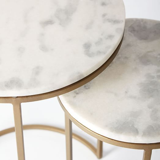 Marble Ayva Nesting Coffee Tables Set Of 2: Marble Round Nesting Side Table (Set Of 2) In 2019