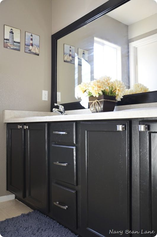 Use Semi Gloss Poly On Cabinets So They Are Cleanable But Not In Your Face Shiny Black Cabinets Bathroom Laundry In Bathroom Glamorous Bathroom Decor