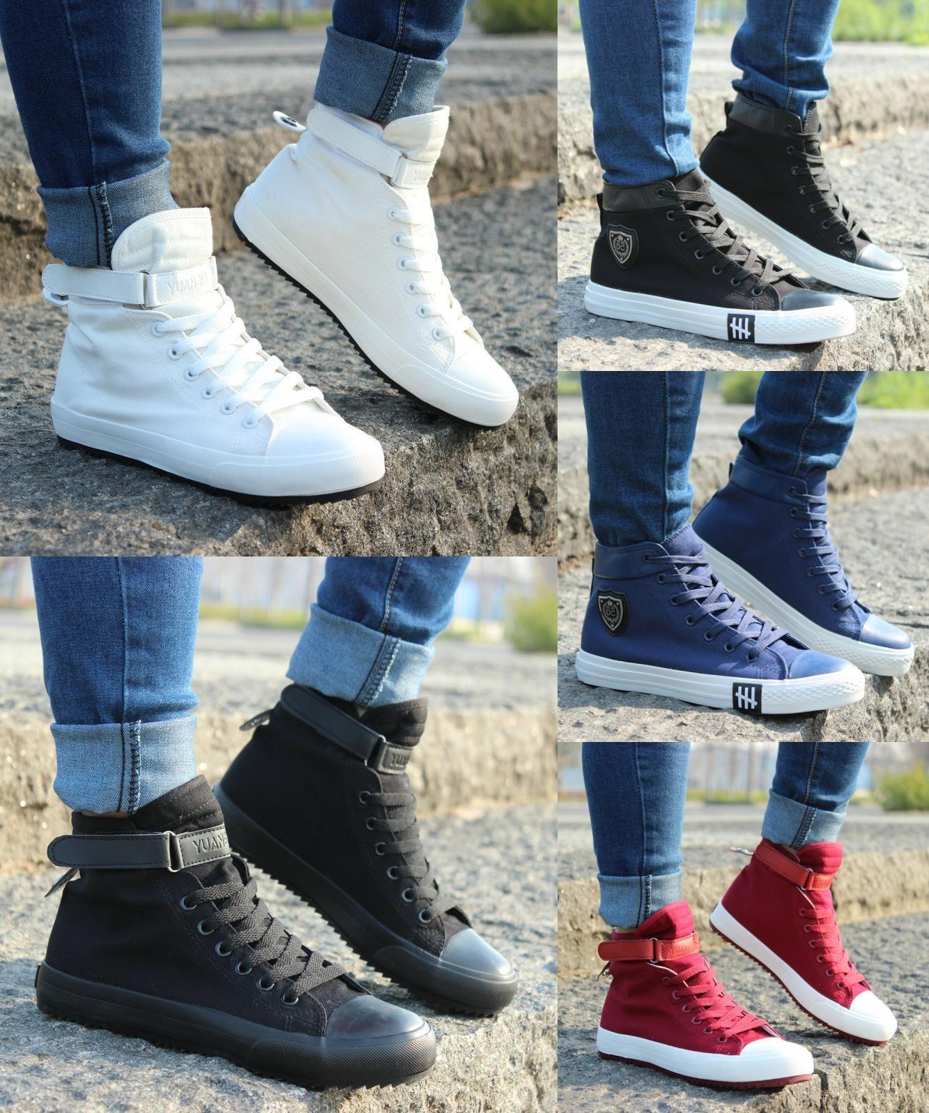 dc2773b46 [Visit to Buy] 2017 New Spring/Autumn Men Casual Shoes Breathable Black High -top Lace-up Canvas Shoes Espadrilles Fashion White Men's Flats  #Advertisement