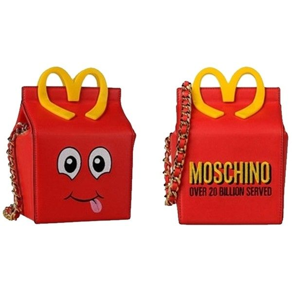 Pre-owned Moschino Happy Meal Leather Shoulder Bag ($870) ❤ liked on Polyvore featuring bags, handbags, shoulder bags, red, leather shoulder handbags, shoulder handbags, red leather shoulder bag, red purse and top handle leather handbags