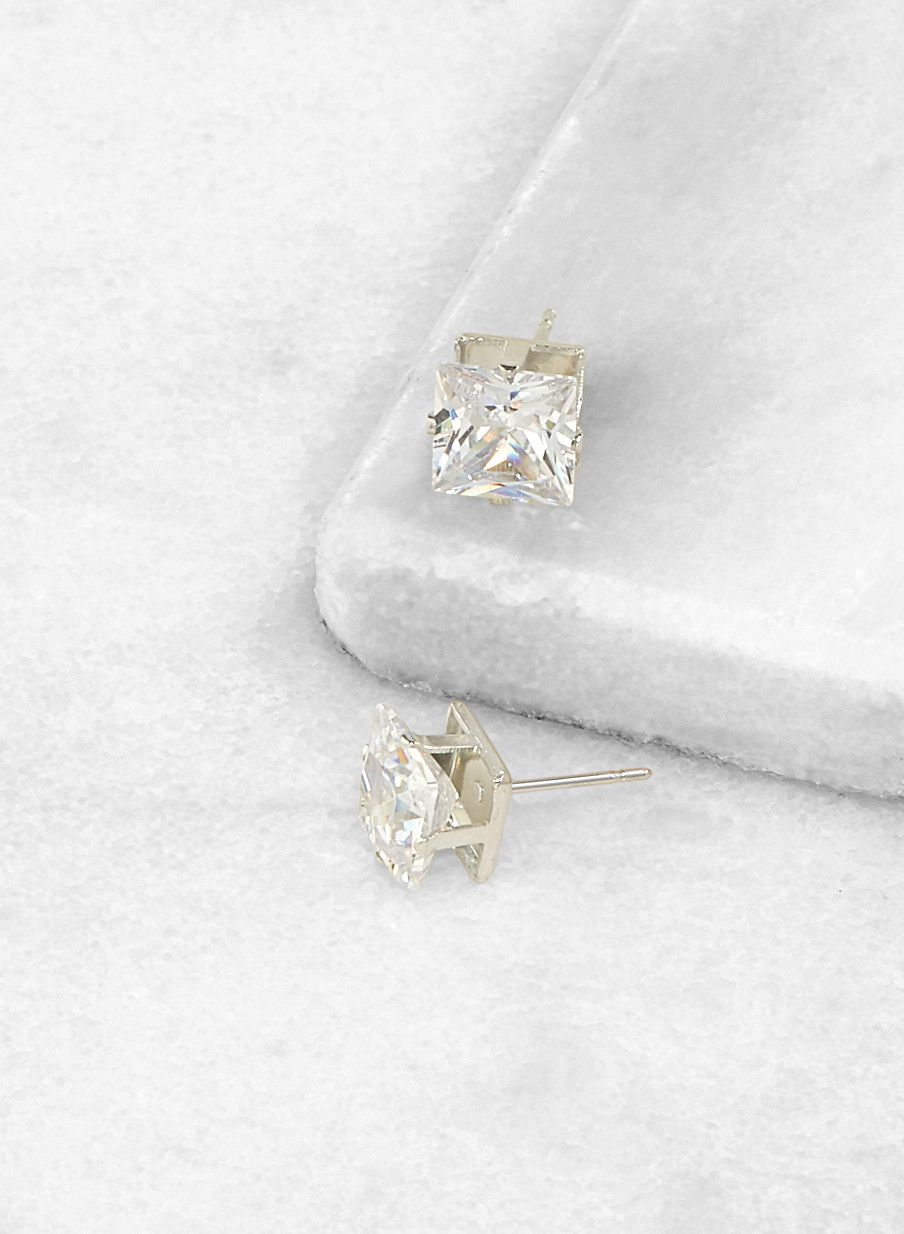 634046858b469 Square 8mm Cubic Zirconia Earrings in 2019 | Products | Cubic ...
