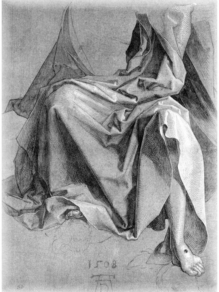 Cross Hatching and Contour Harching - Durer drapery study.