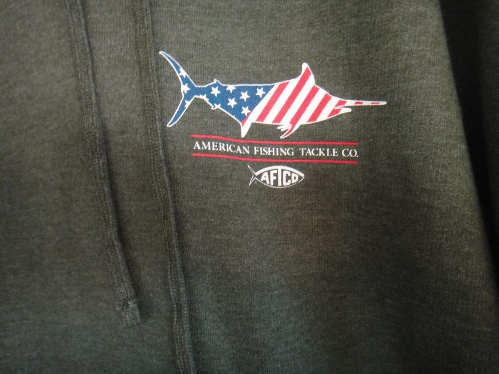4ab6463de8d23 American Fishing Tackle Co.Pull Over Hoodie AFTCO Color Green Size 2XL   AFTCO  Hoodie