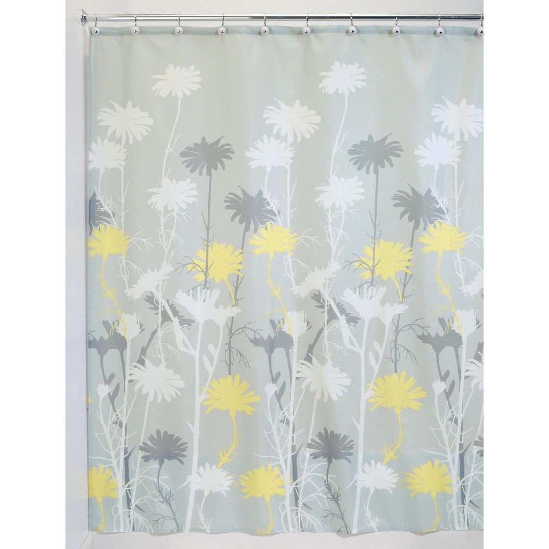 Interdesign daisy shower curtain grayyellow bathroom