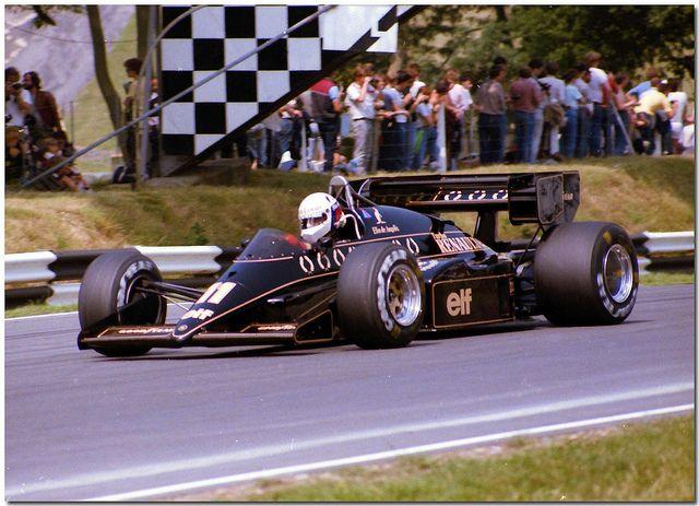 Elio de Angelis JPS Lotus Renault 95T F1. 1984 British GP Brands Hatch