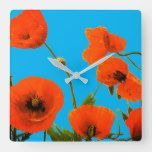 Orange Floral Poppy Flowers Blue Background Cute Square Wall Clock  background