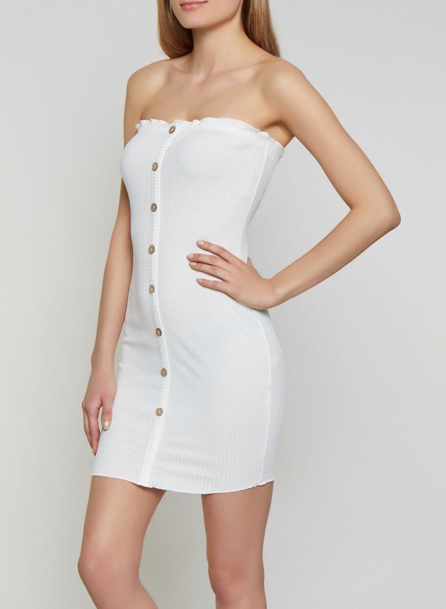 Button Front Rib Knit Tube Dress | Tube dress, Plus size ...