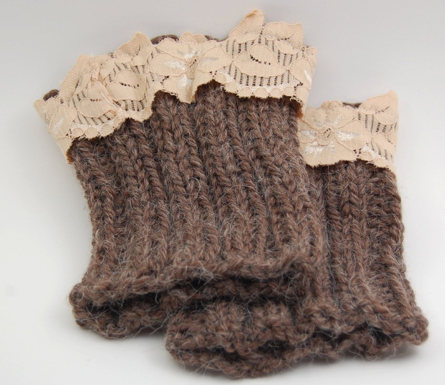 Ratto Comfort's Handmade Ribbed and Laced Boot Cuffs by RobynKnitting on Etsy