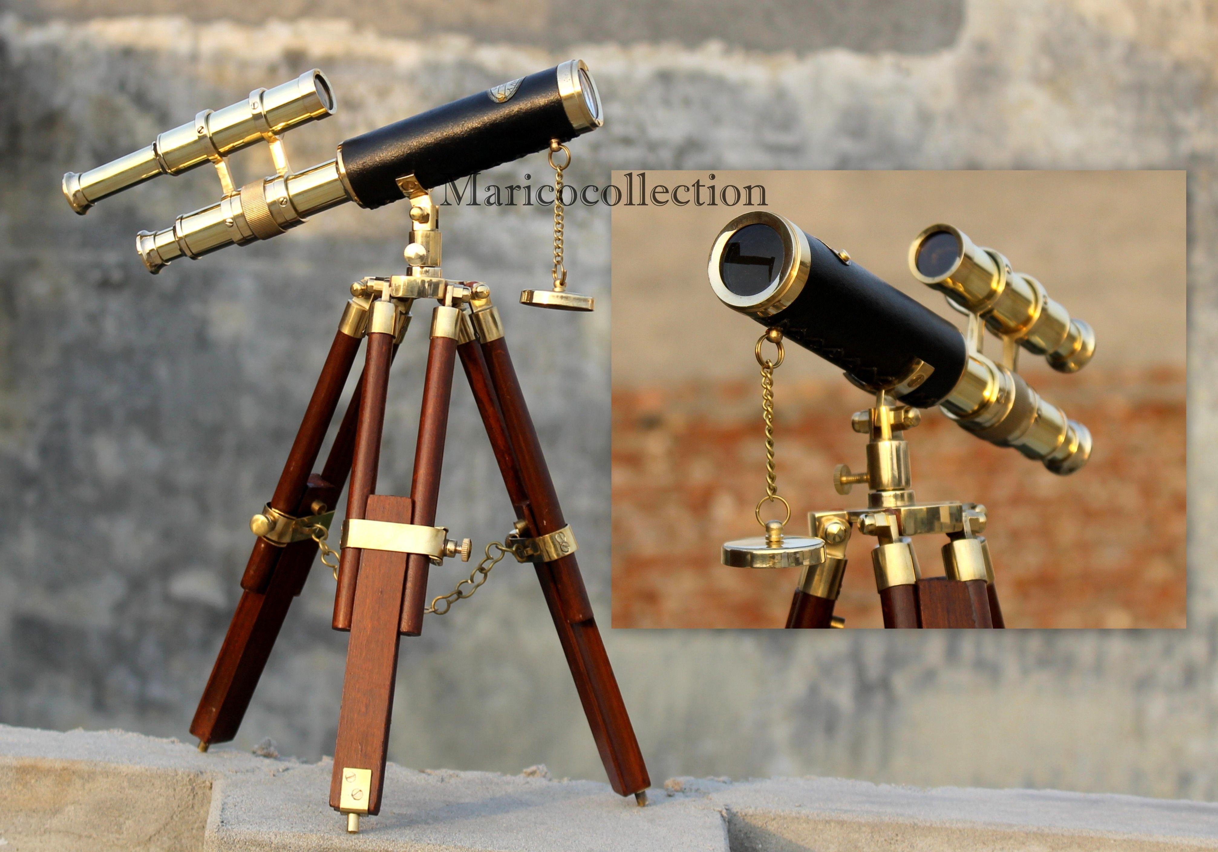 Handmade Telescope Marine Leather Desk Tripod Stand Antique Spyglass Decor Gift Low Price Maritime Telescopes Maritime