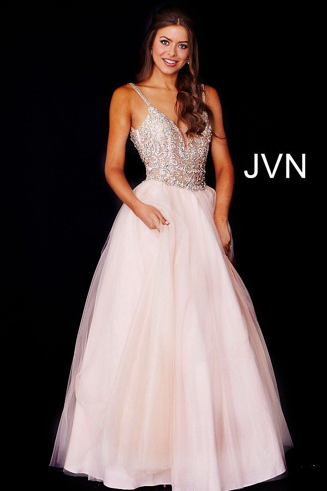 Floor length blush tulle prom ballgown features sleeveless sheer embellished  bodice with spaghetti straps plunging neckline 11bc52b2f