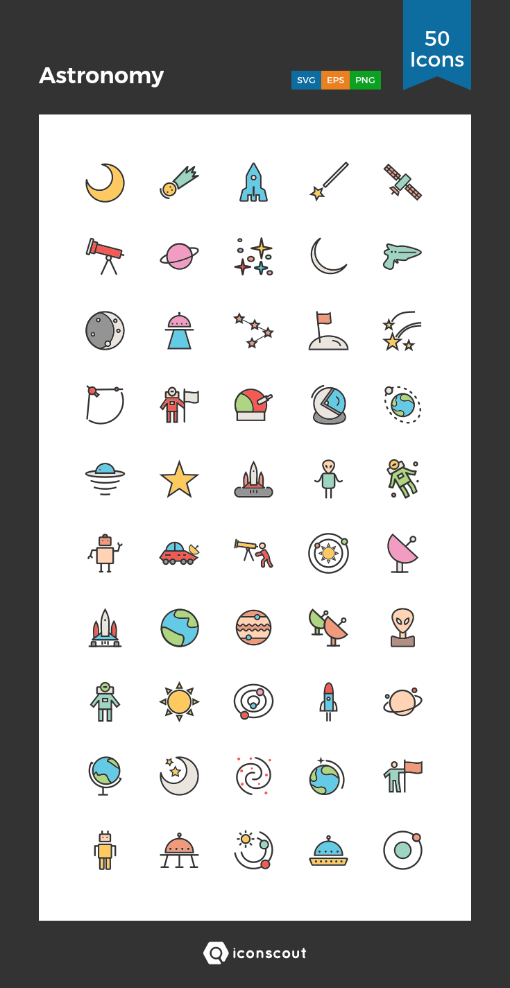 Astronomy Icon Pack 50 Filled Outline Icons สติกเกอร์