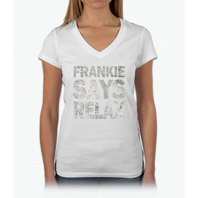 Frankie Says Relax Womens V-Neck T-Shirt