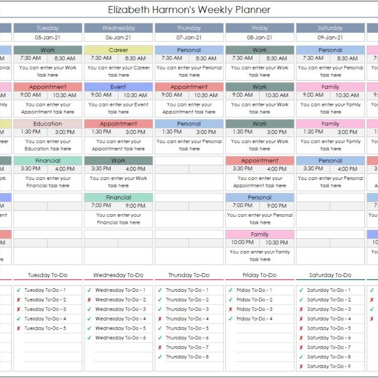 Weekly Personal Planner Excel Template Schedule Tracker Printable Excel Planner Worksheet Editable Spreadsheet Excel Dashboard In 2021 Personal Planner Excel Template Weekly Planner Template