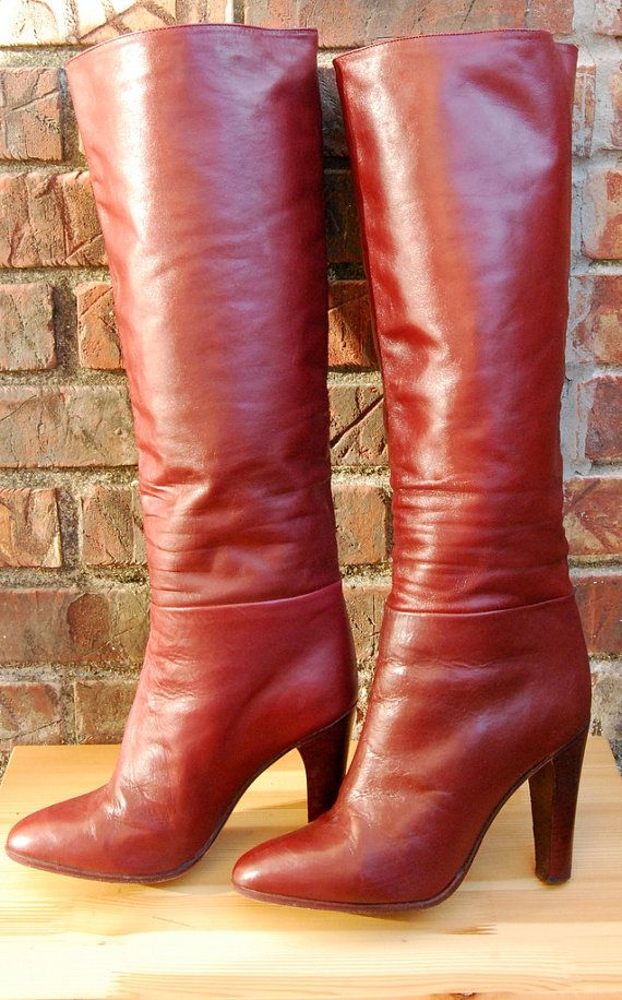 1137bed8b9a Vtg. 1970s Burgundy Leather Knee High Heeled Boots by MelBelleChic