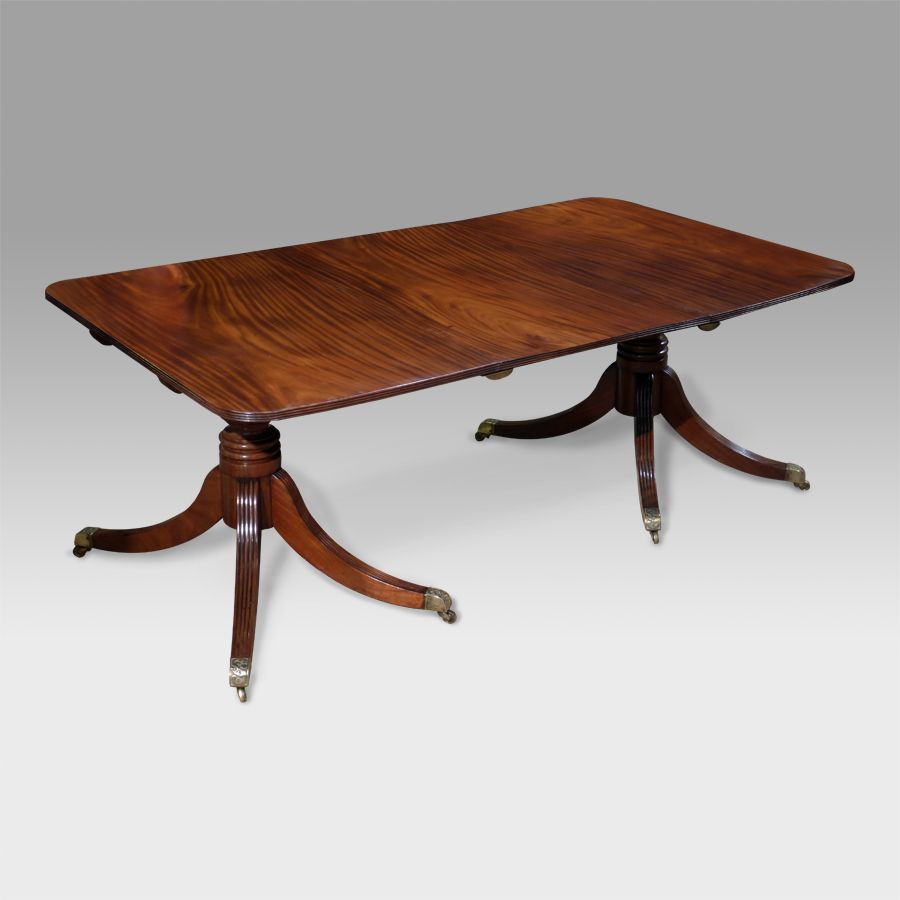 Fine mahogany dining tables - Small Regency Mahogany Twin Pedestal Dining Table Figured Top With A Removable Leaf Raised