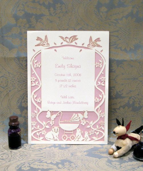 Emily Baby Papercut Baby Announcement enlarged