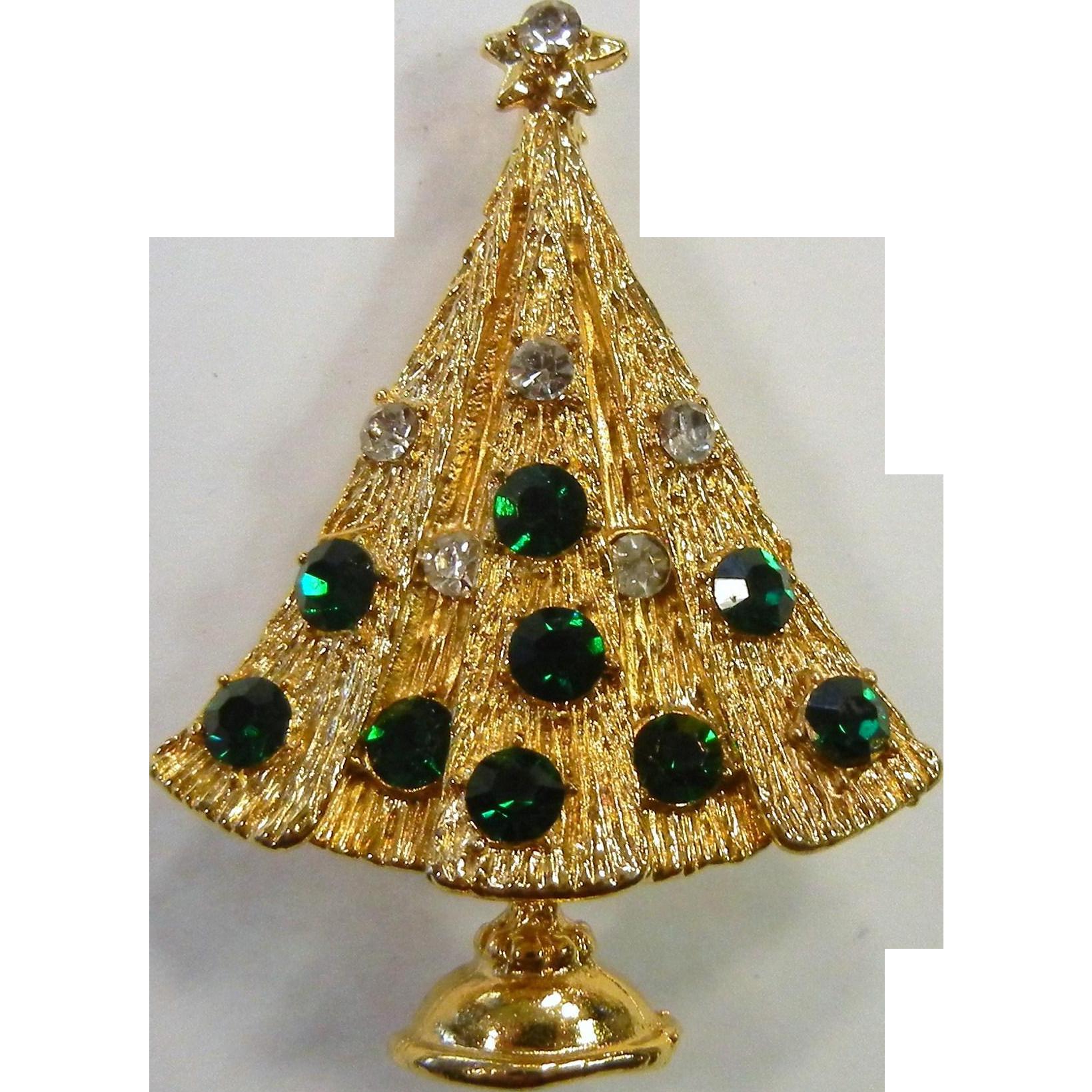 Vintage Gold Tone Rhinestone Christmas Tree Brooch Vintage Christmas Tree Vintage Gold Christmas Jewelry