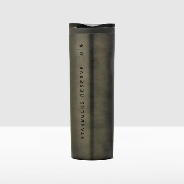 A Stainless Steel Coffee Tumbler In Black Featuring The