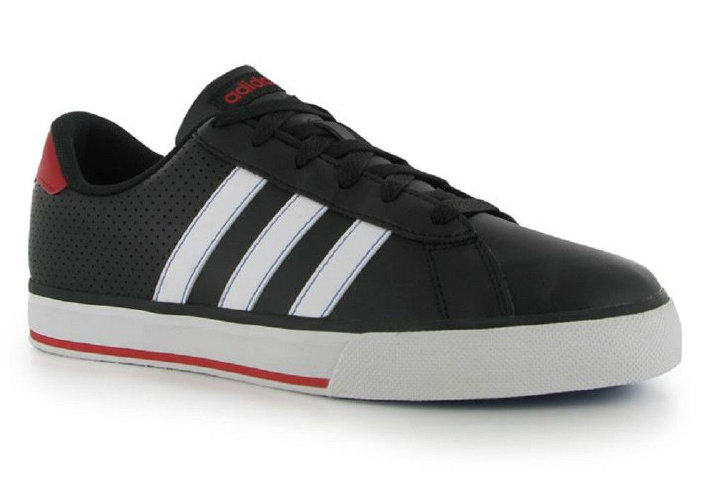 Mens Adidas Trainers Neo SE Daily Leather Black White Red UK Size 7 EU 40.5  NEW