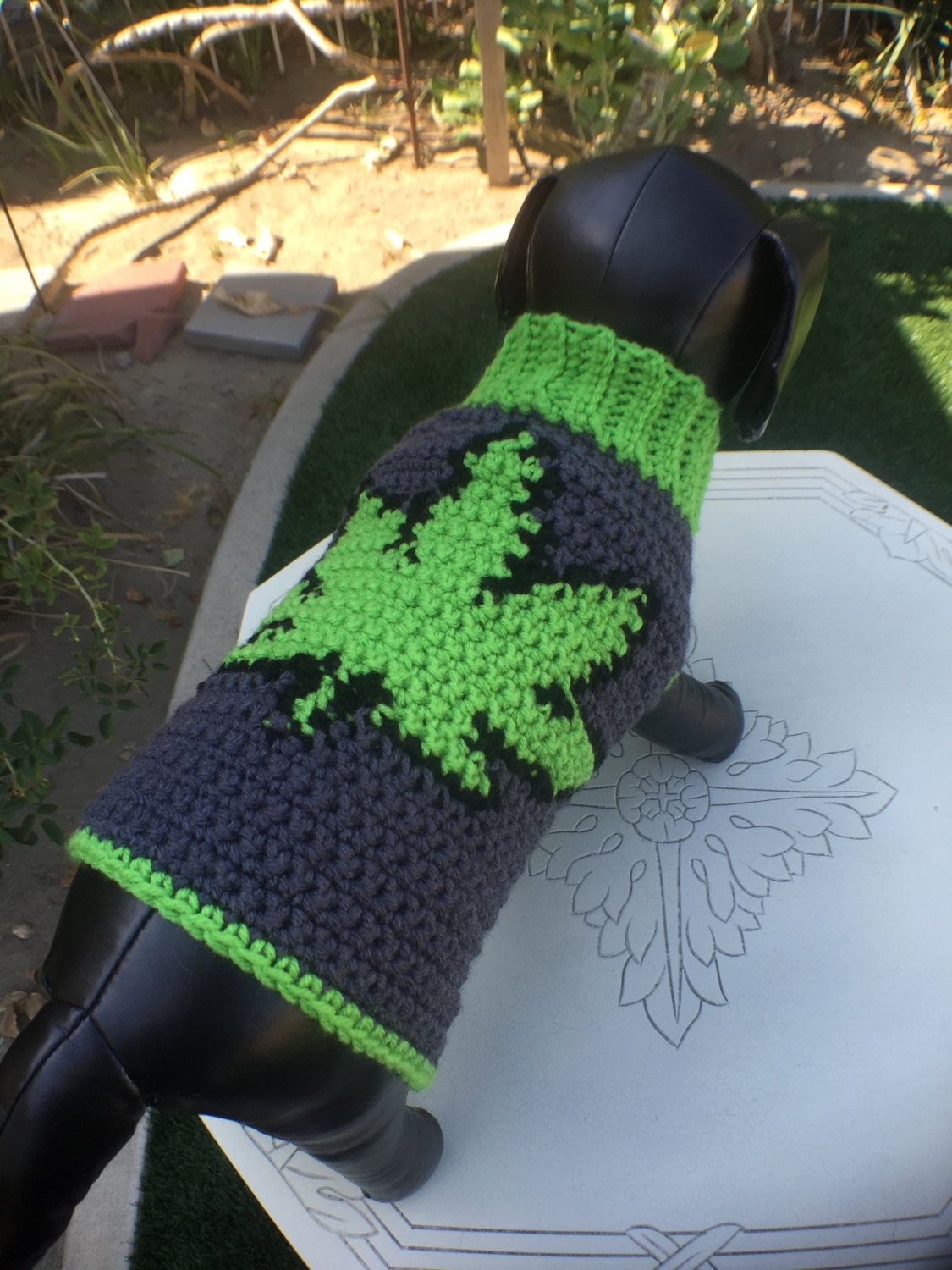 Marijuana Leaf Dog Sweater, Crochet Dog Clothes, Dog Sweater, Custom ...
