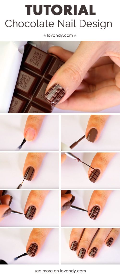 Sweet And Easy Chocolate Brown Nail Art Step By Step Nail Art