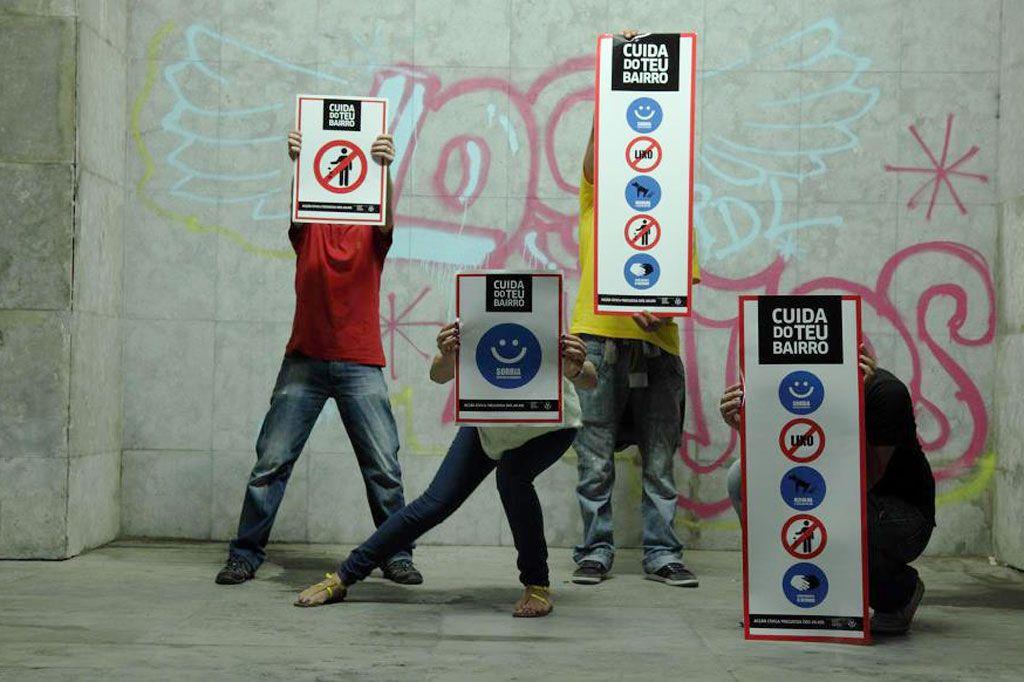 Nas ruas da freguesia dos Anjos, em Lisboa, já há mensagens espalhadas desde o dia 25 de Julho. Iniciativa quer mais respeito pelo espaço público. E chegar a outras zonas da cidade