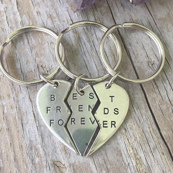 Best Friends Forever Keychains Trio 3 Split Heart Bff Key Chains Triple Besties Keyrings Best Friends Forever Triple Keyrings Bff In 2020 Friends Forever Pictures Bff Jewelry Friends Forever